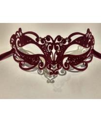 Венецианская черная маска Ninfea с бархатистым напылением, бордовая