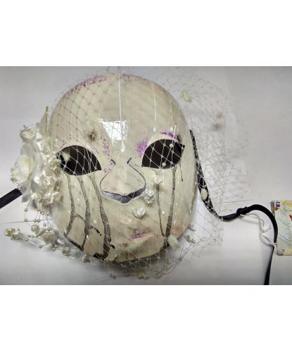 Женская маска Череп с вуалью, сетка, папье-маше (Италия)