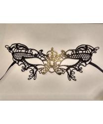 Кружевная маска Filo butterfly, черная с золотом