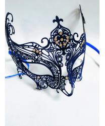 Синяя венецианская маска Libellula, бархатистая