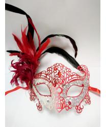 Карнавальная ажурная маска с перьями (красно-серебряная), пластик, перья (Италия)