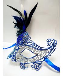 Карнавальная ажурная маска с перьями (серебряно-синяя)