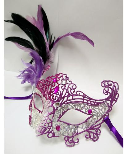 Карнавальная ажурная маска с перьями (фуксия-серебро), пластик, перья (Италия)
