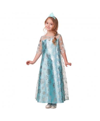 Детский костюм зимней принцессы: платье, диадема (Россия)