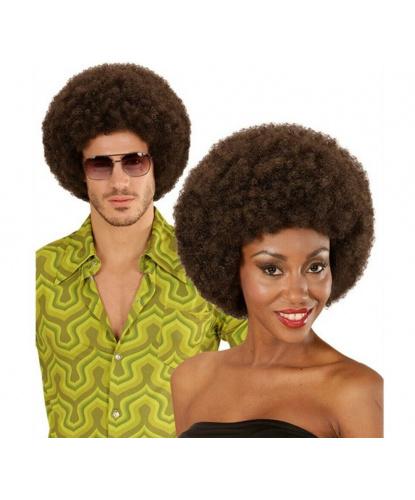 Коричневый парик-афро: коричневый (Италия)