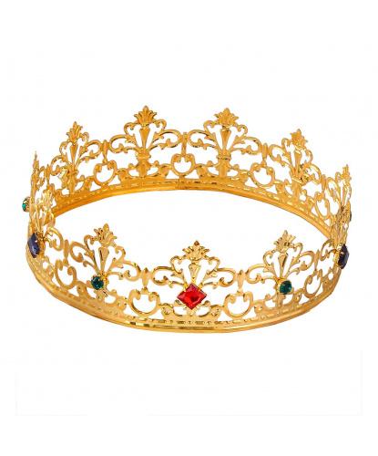 Золотая королевская корона, стразы, металл (Италия)