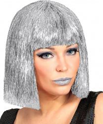 Серебряный парик-каре
