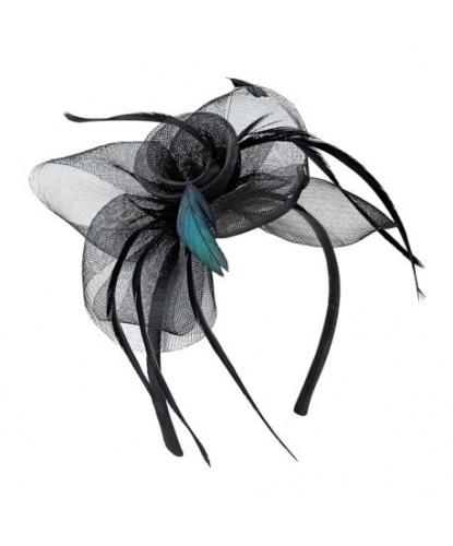Черная коктейльная шляпка-ободок (Италия)