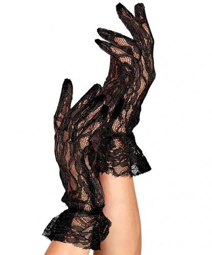 Короткие кружевные перчатки, черные (Италия)