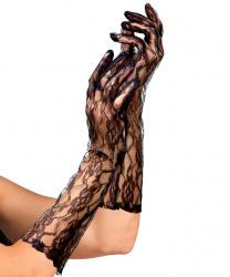 Кружевные перчатки, черные (40 см)