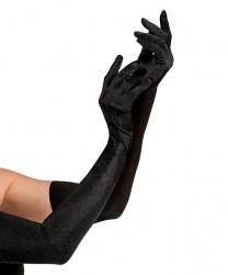 Сатиновые перчатки, черные (60 см)