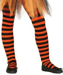 Детские колготки в черно-оранжевую полоску