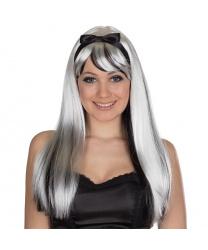 Черно-белый парик с повязкой