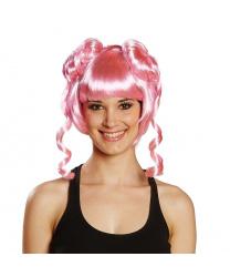 Розовый парик с двумя пучками
