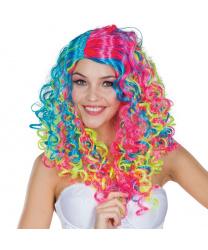 Кудрявый парик неоновых цветов
