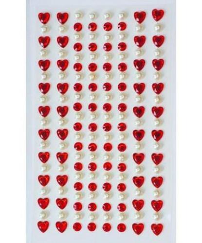 Стразы самоклеящиеся сердечки+жемчуг 152 шт, красные