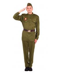 Костюм Солдат: брюки, гимнастерка, пилотка, ремень, Георгиевская ленточка (Россия)