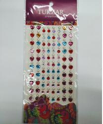 Стразы самоклеящиеся сердечки+жемчуг (разноцветные)