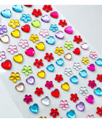 Стразы самоклеящиеся сердечки+цветочки 96 шт, разноцветные