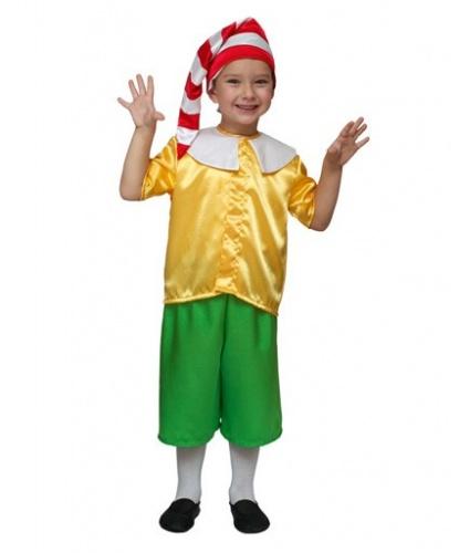 Костюм Буратино для мальчика: бриджи, головной убор, рубашка, нос (Россия)