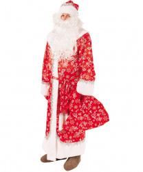 Костюм Дедушки Мороза: шуба, шапка,борода, варежки, мешок, пояс (Россия)
