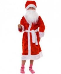 Костюм Деда Мороза для мальчика: борода, головной убор, пояс, шуба (Россия)
