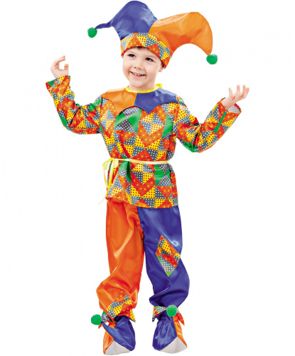 Костюм шута Петрушки: рубашка с пясом, брюки, колпак, башмачки (Россия)