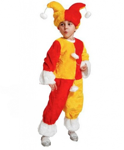 Детский красно-желтый костюм клоуна: головной убор, комбинезон (Россия)