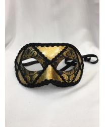 Венецианская темно-золотая маска с черным узором, мужская, папье-маше, тесьма (Италия)
