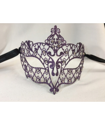 Маска Brillina Grande, фиолетовая с блестками, металл (Италия)