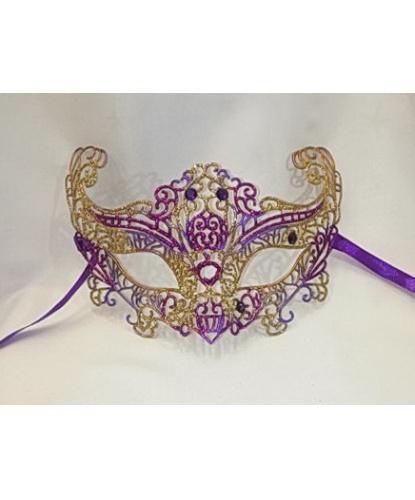 Карнавальная, ажурная маска (фуксия-золото), пластик,стразы, Италия
