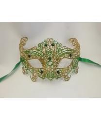 Карнавальная, ажурная маска (зеленая-золото)