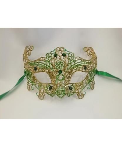 Карнавальная, ажурная маска (зеленая), стразы, пластик (Италия)