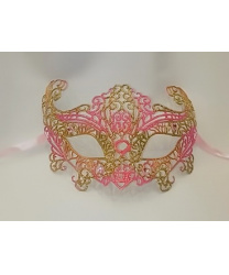Карнавальная, ажурная маска (розовая-золото)