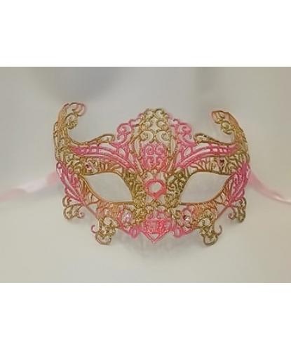 Карнавальная, ажурная маска (розовая)