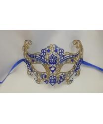 Карнавальная, ажурная маска (синяя-золото)