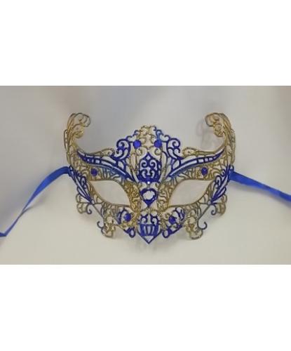 Карнавальная, ажурная маска (синяя-золото), стразы, пластик (Италия)