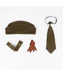 """Набор """"солдат"""" (пилотка, галстук, погоны и георгиевская лента)"""