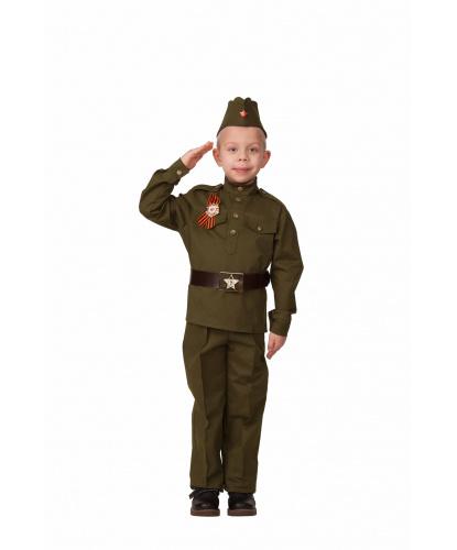 Детский костюм Солдат. гимнастёрка, брюки, ремень, пилотка, значок с георгиевской лентой. Россия