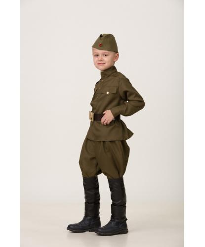 Костюм для мальчиков Солдат. Гимнастёрка, брюки, имитация обуви, ремень, пилотка, георгиевская лента