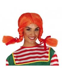 Оранжевый парик с косичками