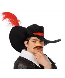Шляпа с широкими полями и красным пером
