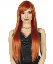Длинный рыжий парик с челкой