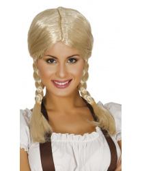Парик с двумя косичками блонд