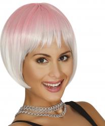 Бело-розовый парик каре