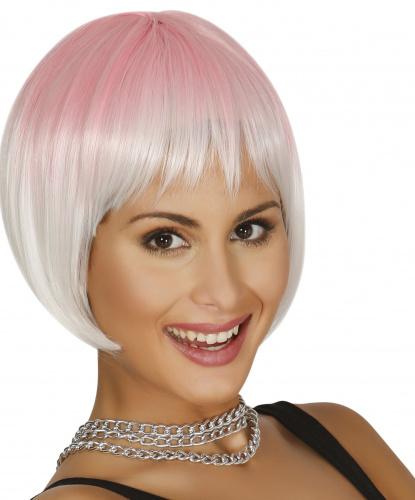 Бело-розовый парик каре: розовый, белый (Испания)