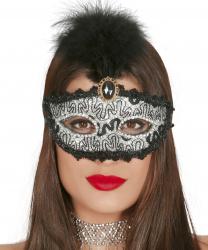 Серебряная блестящая маска с пером