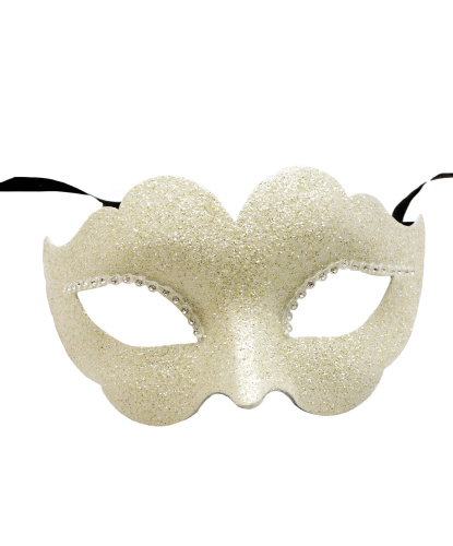 Венецианская маска светло-бежевая, папье-маше, блестки (Италия)