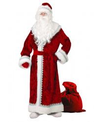 Дед Мороз велюровый, красный, с тиснением