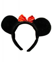 Черные уши мышки с бантиком